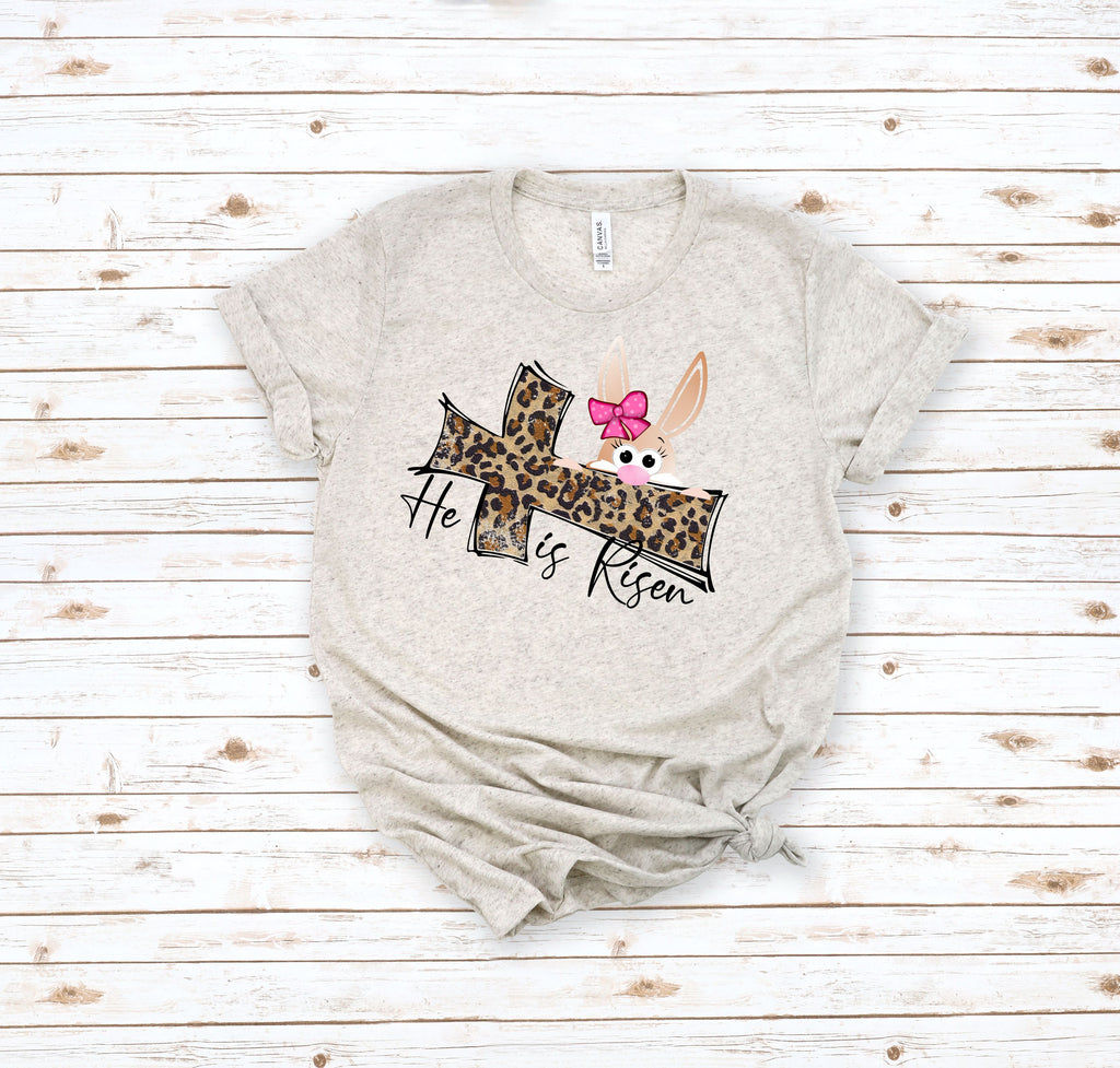 He Is Risen Leopard Cross/Bunny Adult Tee