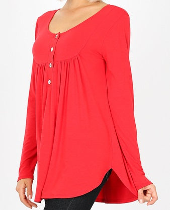 Henley Neck With Yoke Shirring Top - Sweet Girls
