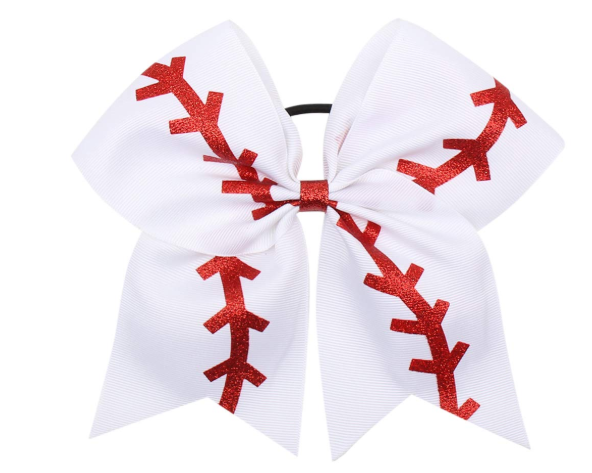 "7.5"" Softball Ribbon Bow with Ponytail Holder - Sweet Girls"