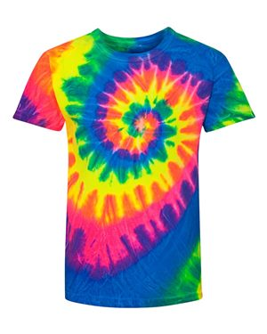 Multi Color Spiral Tye Dye Kids Tee - Sweet Girls