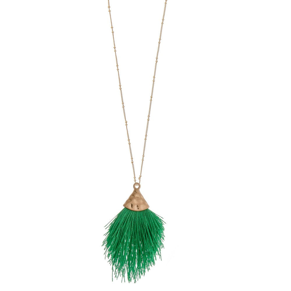 Mini Fringe Tassel Pendant Necklace - Sweet Girls