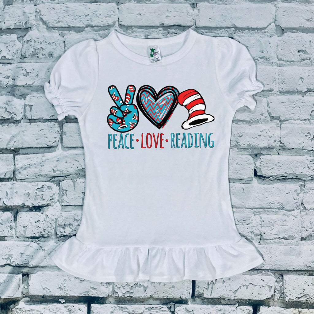 Peace Love Reading Kids Tee and Infant Onesie