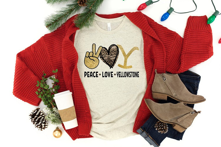 Peace Love Yellowstone Adult Tee