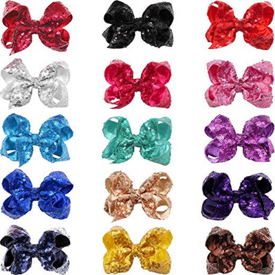 "4"" Sequin Bows 15 pcs Bundle - Sweet Girls"