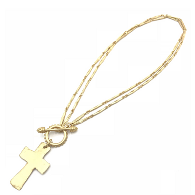 gold cross convertible necklace