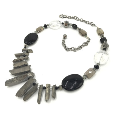 quartz agate crystal black onyx necklace