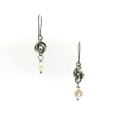 sterling silver steel pearl earrings