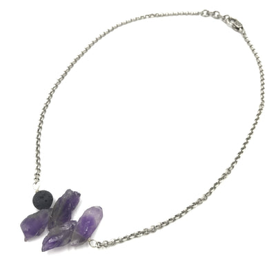 amethyst quartz sterling silver steel necklace