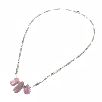 ruby pink purple silver necklace