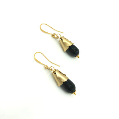 Onyx Drop Gold Leaf Designer Earrings