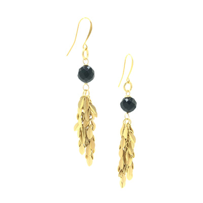 Onyx Gold Leaf Fringe Earrings