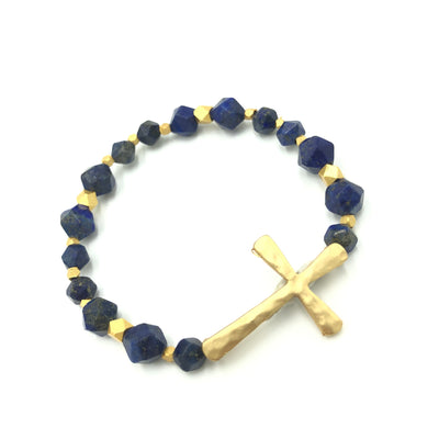 Blue Lapis Gold Cross Bracelet