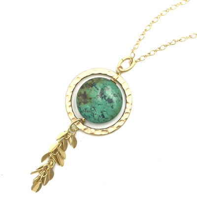 Chrysocolla Gold Long or Short Necklace