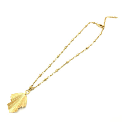 Modern Leaf Ball Layering Necklace