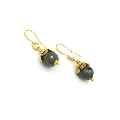 Labradorite Gold Designer Earrings