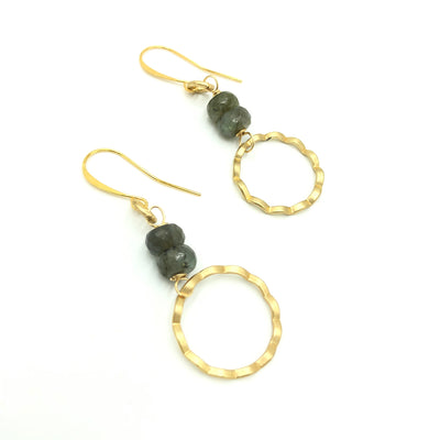 Labradorite Gold Wave Earrings