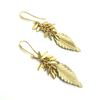 Gold Leaf Fringe Earrings