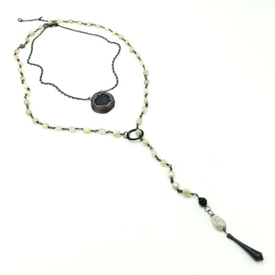Blue Black Solar Quartz Necklace