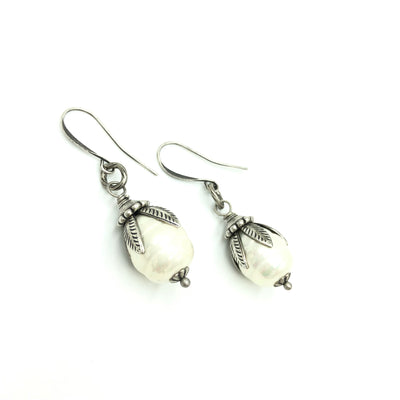 Pearl Designer Leaf Earrings