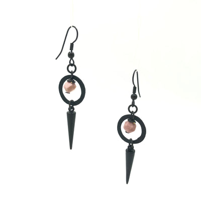 Rhodonite Black Spike Earrings