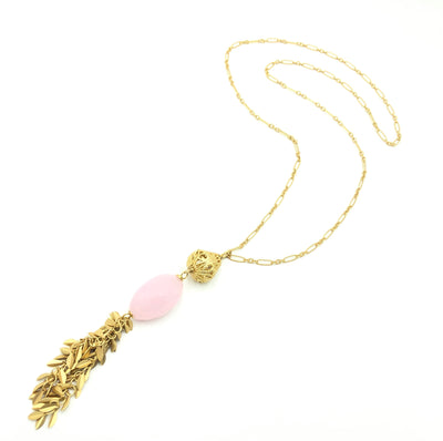 Rose Quartz Gold Tassle Necklace