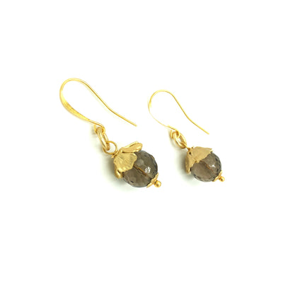 Smokey Quartz Gold Designer Earrings