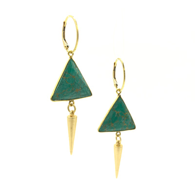 Turquoise Gold Triangle Earrings