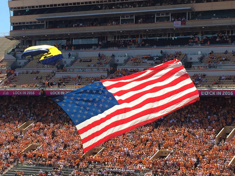 US Navy Parachutes into Neyland Stadium during the 2016 University of Tennessee Spring Orange and White Game