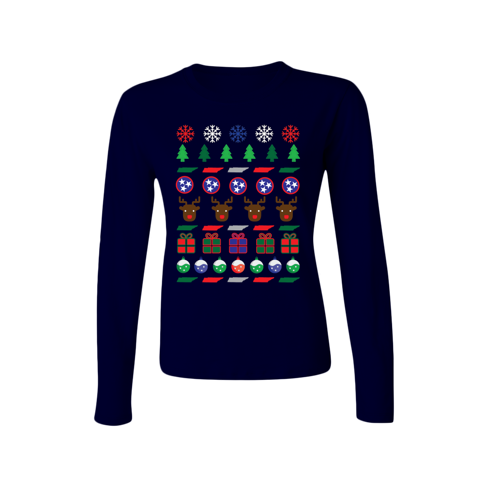 tennessee ugly christmas sweater womens long sleeve t shirt