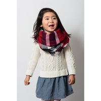 Kids Plaid Blanket Infinity Scarf - Red Navy - Bean Concept - Etsy