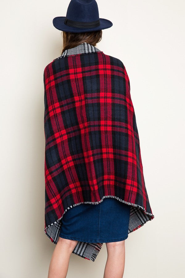 Oversized Reversible Plaid Blanket Scarf - Bean Concept - Etsy