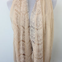 Taupe Brown Floral Lace Infinity Scarf - Bean Concept - Etsy