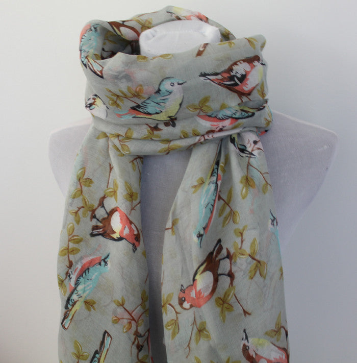 Gray Bird on Tree Branch Scarf - Bean Concept - Etsy