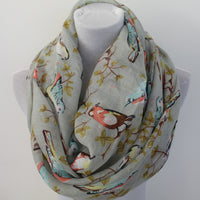 Gray Bird on Tree Branch Infinity Scarf - Bean Concept - Etsy