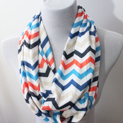 Chevron Color Block Jersey Infinity Scarf - Bean Concept - Etsy