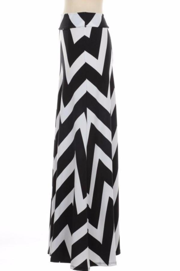 Black and White Chevron Maxi Skirt - Bean Concept - Etsy