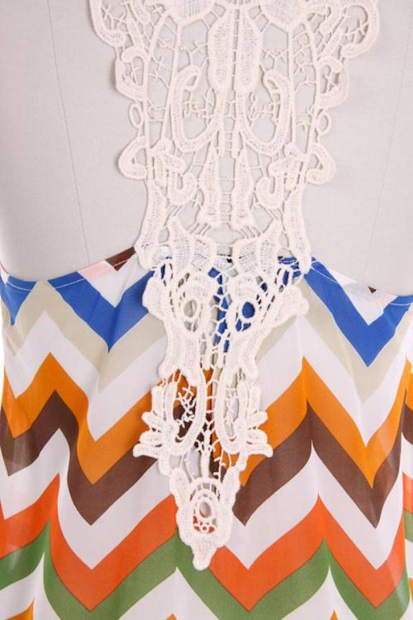 Summer Chevron Print Tank Top with Lace Trim - Bean Concept - Etsy