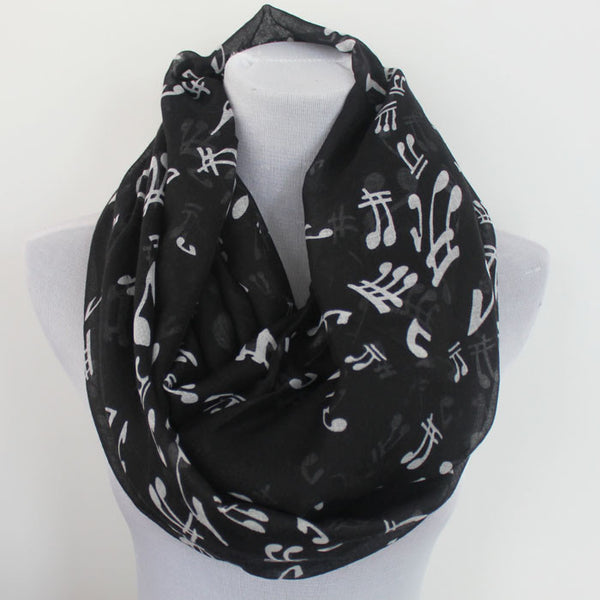 Music Note Infinity Scarf - Black
