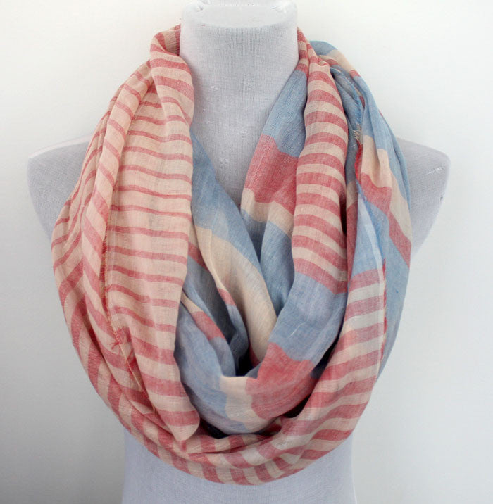 Color Block Stripes Infinity Scarf - Bean Concept - Etsy