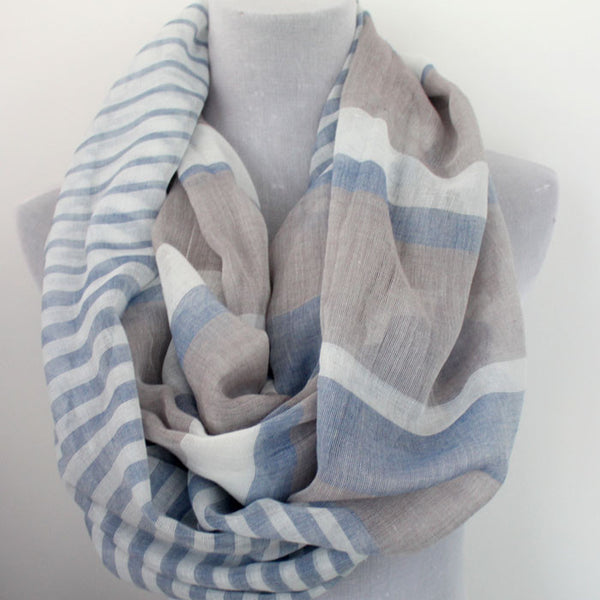 Color Block Stripes Infinity Scarf - Gray - Bean Concept