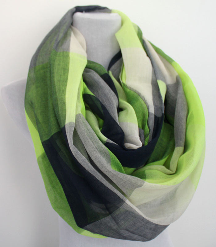 Plaid Color Block Infinity Scarf - Bean Concept - Etsy
