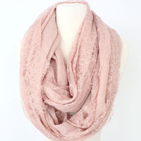 Pink Lace Linen Infinity Scarf - Bean Concept - Etsy