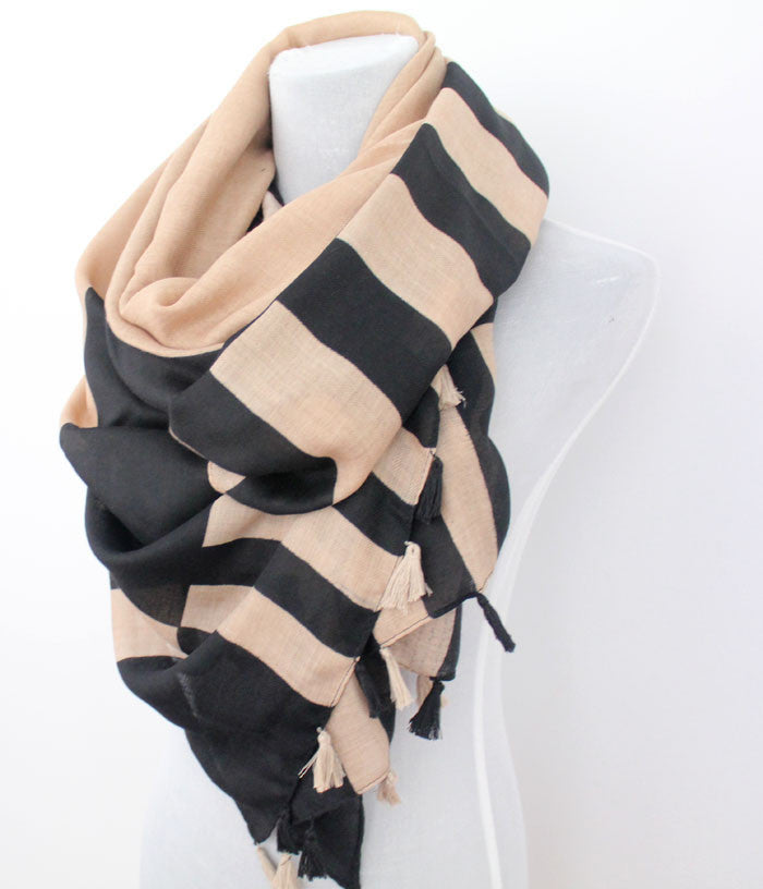 Large Colorblock Scarf with Tassels - Bean Concept - Etsy