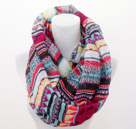 Bohemian and Aztec Infinity Scarf - Bean Concept