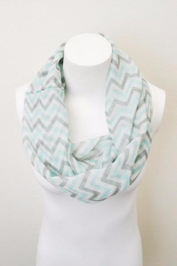 Mint Green Chevron Infinity Scarf - Bean Concept - Etsy