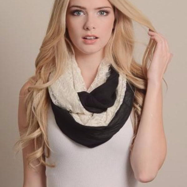 Lace Color Block Infinity Scarf - Black - Bean Concept