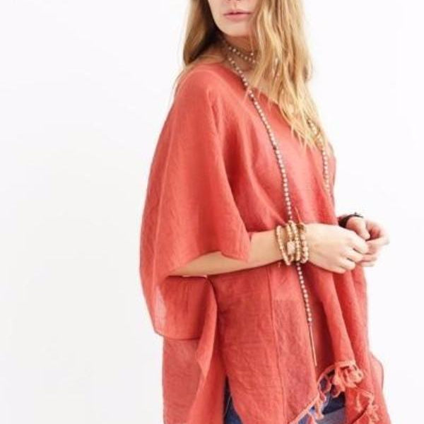 Rust Orange Beach Cover Up Kimono