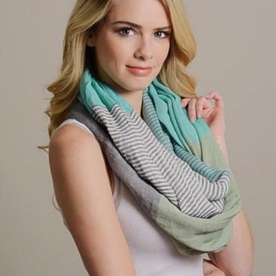 Soft Stripe and Colorblock Infinity Scarf - Bean Concept - Etsy