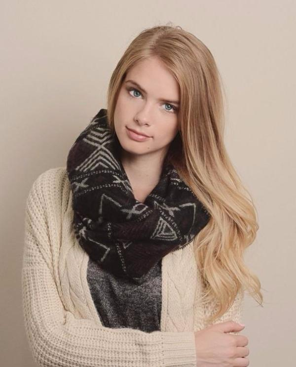 Soft Aztec Knitted Infinity Scarf - Bean Concept - Etsy