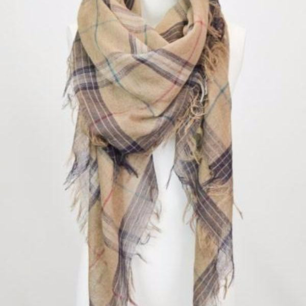 Plaid Classic Multihued Plaid Scarf with Baby Fringes - Mocha - Bean Concept